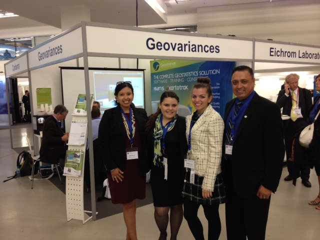 DOE Fellows Gabriela Vazquez (second from left) and Ximena Prugue (third from left) with Rosa Elmetti-Ramirez (DOE) and Leo Lagos (FIU) at the 15th ICEM Conference in Brussels, Belgium.