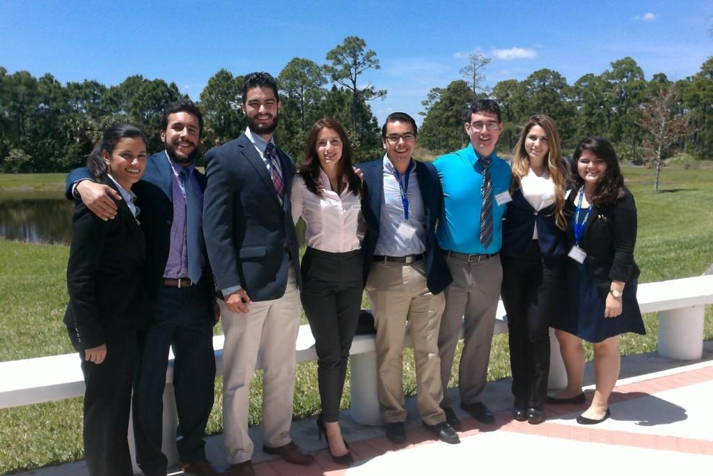 FIU STEM Students at the Life Science South Florida Symposia 2015. Left to right: Christine Wipfli, Aref Shehadeh, Christian Pino, Kiara Pazan, Lararo Mesa, Andres Arango, Alejandra Vivas, and Elsa Bravo