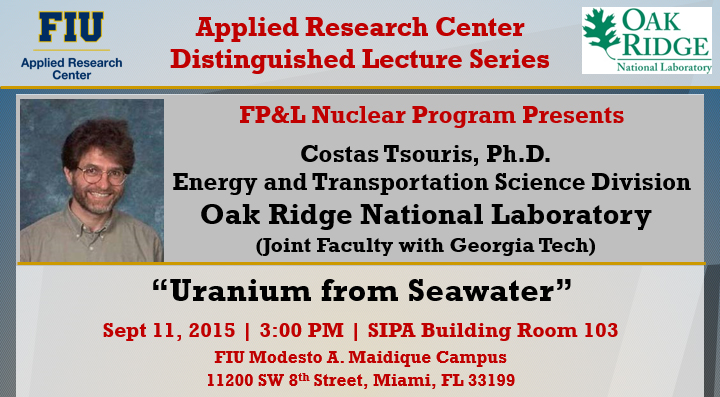 """Uranium from Seawater"" by Costas Tsouris, Ph.D."