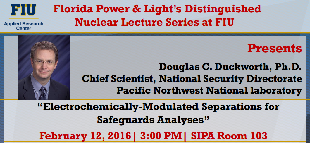 """Electrochemically-Modulated Separations for Safeguards Analyses"" by Douglas C. Duckworth, Ph.D."