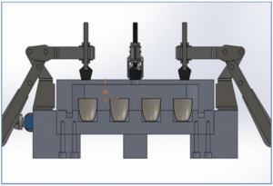 Diagram of isopiestic chamber assembly with aluminum block and nickel crucibles