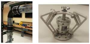 Inspection tool mock-up testing (L); gripping mechanism (R).