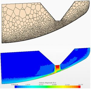 Sectional view of the computational mesh and velocity profile of jet impingement in a scaled down PJM Vessel