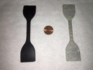 Material Properties Test Coupons: EPDM (left) and Garlock (right)