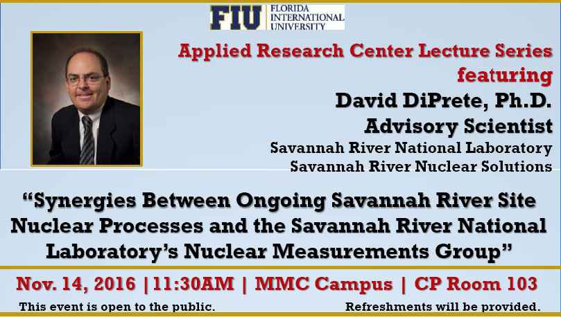 Synergies Between Ongoing Savannah River Site Nuclear Processes and the Savannah River National Laboratory's Nuclear Measurements Group by David DiPrete, Ph.D.