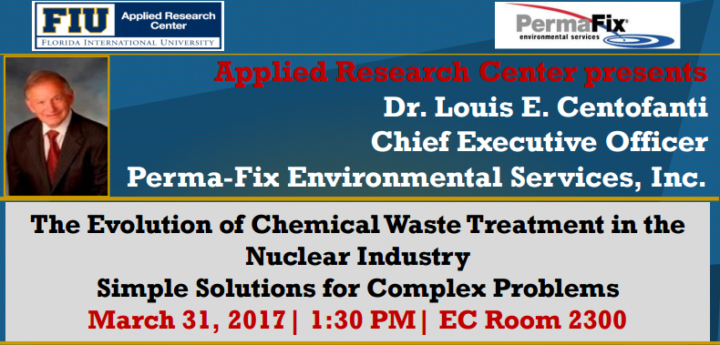The Evolution of Chemical Waste Treatment in the Nuclear Industry Simple Solutions for Complex Problems by Dr. Louis E. Centofanti